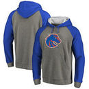 Boise State Broncos Fanatics Branded Primary Logo Tri-Blend Raglan Big & Tall Pullover Hoodie - Heathered Gray
