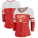 Calgary Flames Fanatics Branded Women's Vintage Collection Line Shift Color Block Three-Quarter Sleeve Tri-Blend T-Shirt - Red