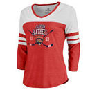 Florida Panthers Fanatics Branded Women's Vintage Collection Line Shift Color Block Three-Quarter Sleeve Tri-Blend T-Shirt - Red