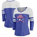 Quebec Nordiques Fanatics Branded Women's Vintage Collection Line Shift Color Block Three-Quarter Sleeve Tri-Blend T-Shirt - Roy
