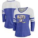 St. Louis Blues Fanatics Branded Women's Vintage Collection Line Shift Color Block Three-Quarter Sleeve Tri-Blend T-Shirt - Roya