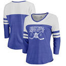 Toronto Maple Leafs Fanatics Branded Women's Vintage Collection Line Shift Color Block Three-Quarter Sleeve Tri-Blend T-Shirt -