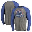 Los Angeles Dodgers Fanatics Branded 2017 National League Champions Fly Ball Long Sleeve Raglan T-Shirt - Heather Gray