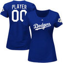 Los Angeles Dodgers Majestic Women's 2017 World Series Bound Custom Name & Number T-Shirt - Royal