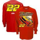 Joey Logano Checkered Flag Long Sleeve Car T-Shirt – Red
