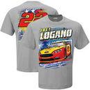 Joey Logano Checkered Flag Patriotic T-Shirt – Gray
