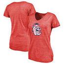 Fresno State Bulldogs Fanatics Branded Women's College Vault Primary Logo Tri-Blend V-Neck T-Shirt - Red