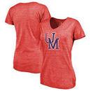 Ole Miss Rebels Fanatics Branded Women's College Vault Primary Logo Tri-Blend V-Neck T-Shirt - Red