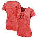 Texas Tech Red Raiders Fanatics Branded Women's College Vault Primary Logo Tri-Blend V-Neck T-Shirt - Red