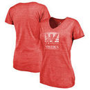 Western Kentucky Hilltoppers Fanatics Branded Women's College Vault Primary Logo Tri-Blend V-Neck T-Shirt - Red