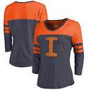 Illinois Fighting Illini Fanatics Branded Women's College Vault Primary Logo Color Block 3/4 Sleeve Tri-Blend T-Shirt - Navy