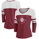 New Mexico State Aggies Fanatics Branded Women's College Vault Primary Logo Color Block 3/4 Sleeve Tri-Blend T-Shirt - Garnet