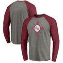 New Mexico State Aggies Fanatics Branded College Vault Primary Logo Long Sleeve Tri-Blend Raglan T-Shirt - Ash