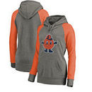 Syracuse Orange Fanatics Branded Women's College Vault Primary Logo Tri-Blend Raglan Pullover Hoodie - Ash/Orange