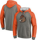 Oregon State Beavers Fanatics Branded College Vault Primary Logo Tri-Blend Raglan Pullover Hoodie - Ash/Orange