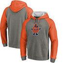 Syracuse Orange Fanatics Branded College Vault Primary Logo Tri-Blend Raglan Pullover Hoodie - Ash/Orange