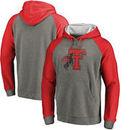 Texas Tech Red Raiders Fanatics Branded College Vault Primary Logo Tri-Blend Raglan Pullover Hoodie - Ash/Red