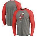 Louisville Cardinals Fanatics Branded College Vault Primary Team Logo Big & Tall Long Sleeve Tri-Blend Raglan T-Shirt - Ash