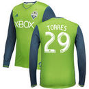 Roman Torres Seattle Sounders FC adidas Men's Long Sleeve 2016 Authentic Primary Jersey - Green