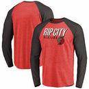 Portland Trail Blazers Fanatics Branded Rip City Hometown Long Sleeve Raglan Tri-Blend T-Shirt – Red