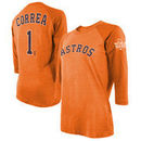 Carlos Correa Houston Astros Majestic Threads Women's 2017 World Series Champions Name & Number Tri-Blend 3/4-Sleeve T-Shirt – O