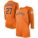 Jose Altuve Houston Astros Majestic Threads Women's 2017 World Series Champions Name & Number Tri-Blend 3/4-Sleeve T-Shirt – Ora