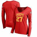 Kareem Hunt Kansas City Chiefs NFL Pro Line by Fanatics Branded Women's Heartthrob Name & Number V-Neck T-Shirt - Red