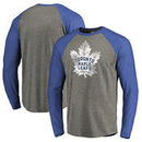 Toronto Maple Leafs Fanatics Branded Big & Tall Team Distressed Raglan Tri-Blend Long Sleeve T-Shirt - Heathered Gray