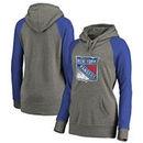 New York Rangers Fanatics Branded Women's Plus Sizes Team Distressed Pullover Hoodie - Heathered Gray
