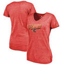 Calgary Flames Fanatics Branded Women's Hometown Collection Tri-Blend V-Neck T-Shirt – Red
