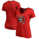 Florida Panthers Fanatics Branded Women's Plus Size Hometown Collection V-Neck T-Shirt – Red