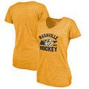 Nashville Predators Fanatics Branded Women's Hometown Collection Tri-Blend V-Neck T-Shirt – Gold