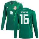 Hector Herrera Mexico National Team adidas 2018 Home Replica Long Sleeve Jersey - Green