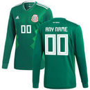 Mexico National Team adidas 2018 Home Replica Custom Long Sleeve Jersey - Green