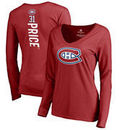 Carey Price Montreal Canadiens Fanatics Branded Women's Backer Name & Number Slim Fit Long Sleeve V-Neck T-Shirt - Red
