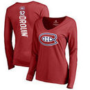 Jonathan Drouin Montreal Canadiens Fanatics Branded Women's Backer Name & Number Slim Fit Long Sleeve V-Neck T-Shirt - Red