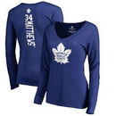 Auston Matthews Toronto Maple Leafs Fanatics Branded Women's Backer Name & Number Slim Fit Long Sleeve V-Neck T-Shirt - Blue