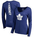 Mitchell Marner Toronto Maple Leafs Fanatics Branded Women's Backer Name & Number Slim Fit Long Sleeve V-Neck T-Shirt - Blue