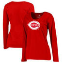 Cincinnati Reds Fanatics Branded Women's Plus Size Cooperstown Collection Wahconah Long Sleeve T-Shirt - Red