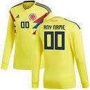 Colombia National Team adidas 2018 Home Replica Custom Long Sleeve Jersey - Yellow