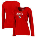 Cincinnati Reds Fanatics Branded Women's Plus Size Team Lockup Long Sleeve T-Shirt - Red