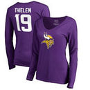 Adam Thielen Minnesota Vikings NFL Pro Line by Fanatics Branded Women's Player Icon Name & Number Slim Fit Long Sleeve V-Neck T-