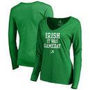 San Jose Sharks Fanatics Branded Women's St. Patrick's Day Irish Game Day Slim Fit Long Sleeve V-Neck T-Shirt - Kelly Green