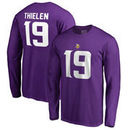 Adam Thielen Minnesota Vikings NFL Pro Line by Fanatics Branded Authentic Stack Name & Number Long Sleeve T-Shirt – Purple