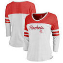 Houston Rockets Fanatics Branded Women's Rising Script Plus Size Color Block 3/4 Sleeve Tri-Blend T-Shirt - White