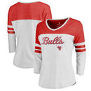 Chicago Bulls Fanatics Branded Women's Rising Script Plus Size Color Block 3/4 Sleeve Tri-Blend T-Shirt - White