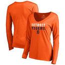 Detroit Tigers Fanatics Branded Women's Fade Out Long Sleeve T-Shirt – Orange