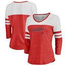 St. Louis Cardinals Fanatics Branded Women's Rising Script Tri-Blend Raglan V-Neck 3/4-Sleeve T-Shirt – Heathered Red/White