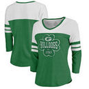 Georgia Bulldogs Fanatics Branded Women's Emerald Isle Tri-Blend Raglan 3/4 Sleeve T-Shirt – Heathered Kelly Green/White