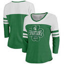 Michigan State Spartans Fanatics Branded Women's Emerald Isle Tri-Blend Raglan 3/4 Sleeve T-Shirt – Heathered Kelly Green/White
